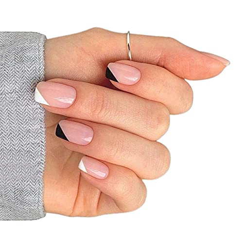 Faux ongles Adhesive Nail Beauty in Black and White Detachable Attractive Fashion Simple Stype for Women's Daily Life