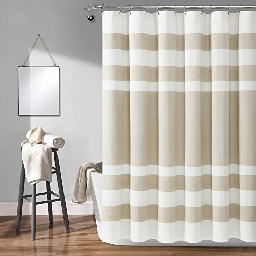 Lush Decor, Taupe Cape Cod Stripe Yarn Dyed Cotton Shower Curtain, 72u0022 x 72u0022