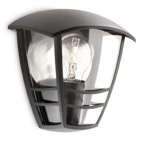 Philips Lighting - Aplique de exterior, empotrado, casquillo gordo E27, bombilla no incluida, resistente a la intemperie, IP44, negro, 19.5 cm