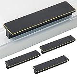LUOFEIYU 4 tiradores para puerta de armario, cajón, vino, armario, zapatero, tiradores de aleación de aluminio negro (distancia entre ejes: 128 mm)