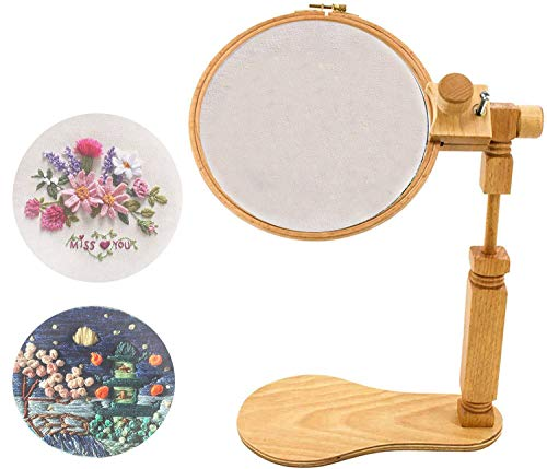 Rotated Embroidery Frame Stand, Wooden Embroidery Frame Rotatable Hoop, for Most Size Art Craft Handy Sewing Christmas Decorations of Hoops (Yellow)