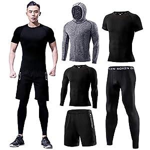 ランニングウェア メンズ 5点セット 加圧シャツ トレーニングウェア コンプレッションウェア 吸汗速乾 通気防臭 スポーツウェア メンズ 上下セット ブラック01-加圧5個セット 5P-Black(Tight01)-L
