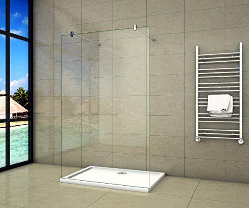 Aica Sanitär Freistehende Duschwand Walk In Dusche 137cm Duschabtrennung 10mm NANO Glas Duschtrennwand 200cm Höhe