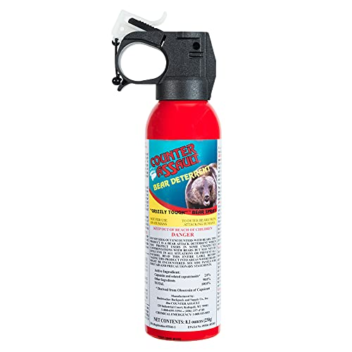 Counter Assault - EPA Certified, Maximum Strength & Distance Bear Repellent Spray - Effective Against Every Type of Bear - Hottest Formula Allowed by Law - Glow in The Dark Safety Wedge (8.1 oz)