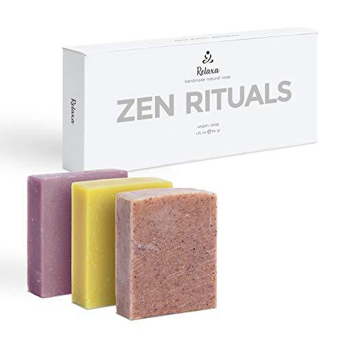 Zen Rituals Naturheilbad Seifenset - Mit ätherischem Bio-Öl, Teebaum und Zitronengras, antibakteriell, Lavendel, Rosmarin-Pfeffer - Vegane Seife mit kaltem Prozess, Set 3 Seifen 240.00 Gr