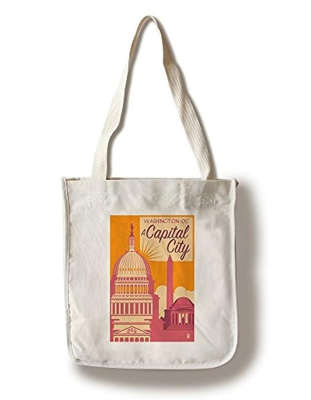 Lantern Press Washington DC - A Capital City (100% Cotton Tote Bag - Reusable)
