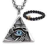 Gungneer Eye of Providence Necklace Pendant Stainless Steel CZ Stones Illuminati Jewelry Biker Accessory Men Women