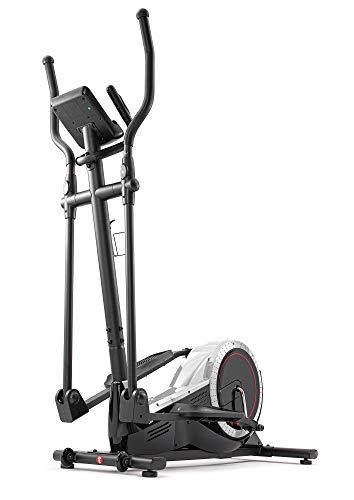 Hop-Sport Elliptical Crosstrainer für Zuhause HS-050C - Ellipsentrainer Ergometer mit 12 Trainingsprogrammen und HRC-Modus - belastbar bis 150kg Silber