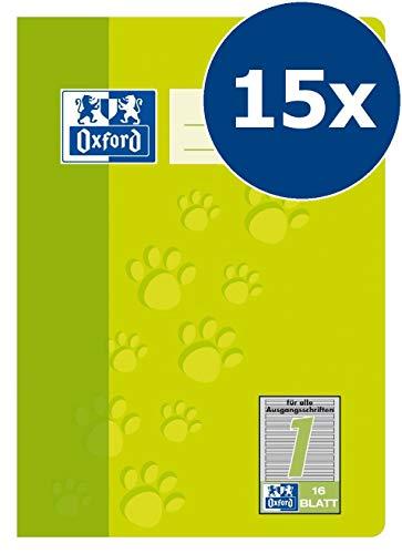 Oxford Schule Schulheft A5, liniert, Lineatur 1, 16 Blatt, hellgrün, 15er Pack