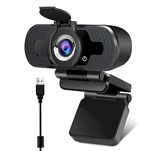 EasyULT Webcam Full HD 1080P con Microfono e Copertura Webcam, USB 2.0 Fotocamera, Stereo Elecamera PC Ridurre Il Rumore, per PC Fisso, Laptop y Mac, per Videochiamate, Studio, Conferenza