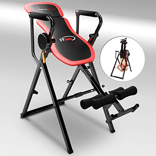 Sportstech Table d'Inversion Multifonctions IT300 Musculation Traction 6-en-1, Muscles dorsaux, Barre de Traction, Repliable, Montage Simple, Banc de Musculation 0° - 90° Levier Intelligent