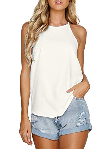 THANTH Womens Tops Halter Sleeveless Tank Tops Sexy High Neck Summer Cami Tops Spaghetti Strap Shirts Casual Racerback Tops Basic Cute Junior Shirts Tops Blouses Cream M