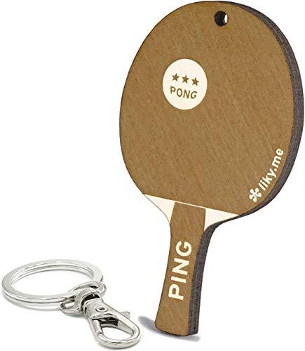 LIKY® Tennis de table Ping Pong- Porte-clés original en bois gravé cadeau pour la fête des pères mère femme homme anniversaire passe-temps pendentif sac à dos