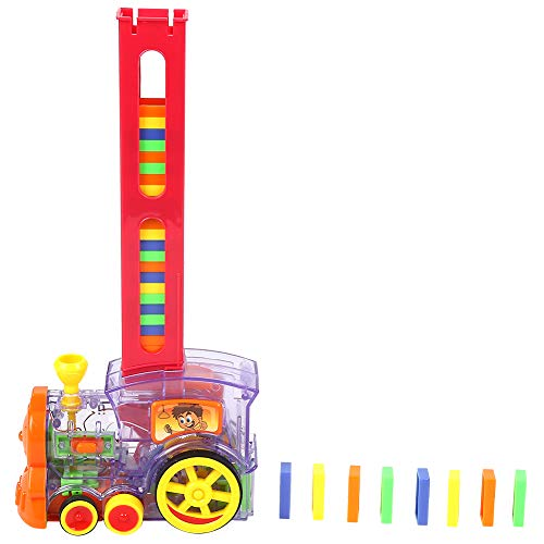 Zerodis Domino Train,Automatic Building and Stacking Domino Blocks Domino Construction Vehicle Toys Educational Electric Car with Music&Light for 3-7 Year Old Boys Girls