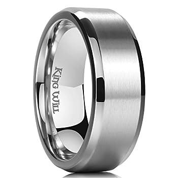 King Will Basic 8mm Titanium Ring Matte Finished Wedding Band Comfort Fit Beveled Edge 9.5