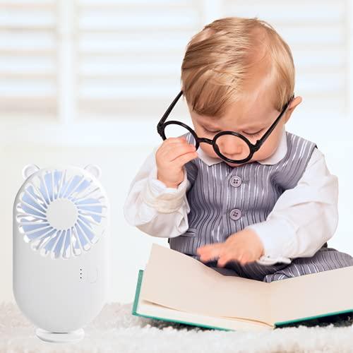 Crethink Mini ventilador portátil USB, ventilador de escritorio de mano, 3 niveles de velocidad ajustables, 7 aspas de ventilador, recargable, muy potente, adecuado para diferentes escenas de casa