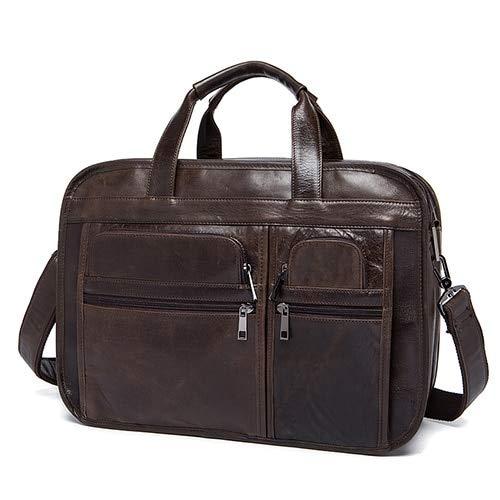 QSGNR Aktentasche Mode Retro Männer Leder Männliche Laptoptasche Business Messenger Bags Umhängetaschen Echtes Leder Aktentaschen Kaffee