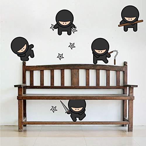 fancjj Diseño de Arte de Vinilo decoración del hogar Cinco Dibujos Animados Ninja Etiqueta de la Pared removible casa decoración calcomanías de Juguete para niños Dormitorio 108x23 cm