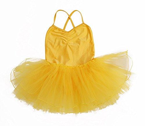 Happy Cherry - Maillot de Tirantes Vestido Eláscico de Baile Tutú Ballet para Niñas Infantil 6-7 Años - 110-120cm Amarillo