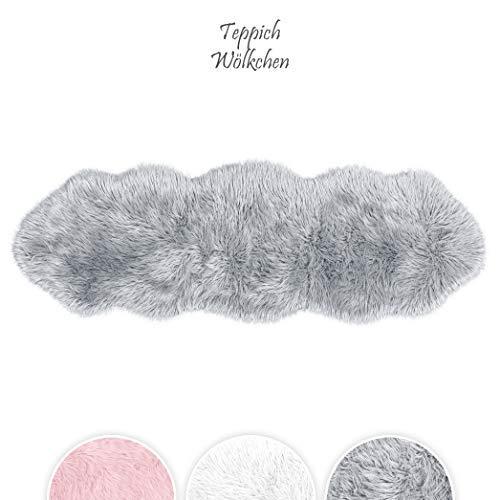 Teppich Wölkchen Lammfell-Teppich Lang Kunstfell Schaffell Imitat | Wohnzimmer Schlafzimmer Kinderzimmer | Als Faux Bett-Vorleger oder Matte für Stuhl Sofa (Grau - 55 x 160 cm)