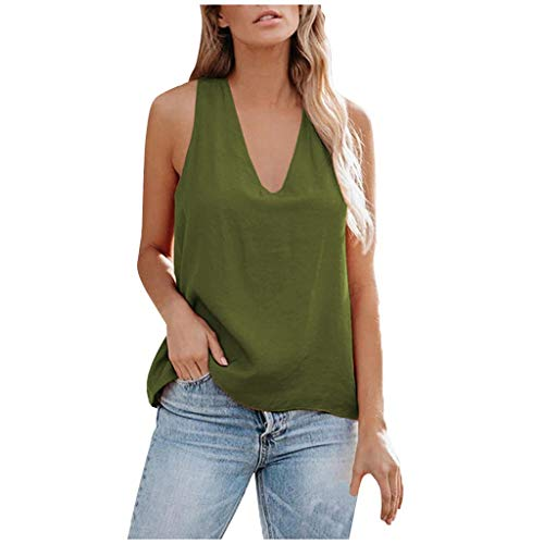 kaifongfu Women Tank Tops Solid Color V Neck Cross Back Casual Loose Sleeveless Shirts Vest(Army Green,XX-Large)