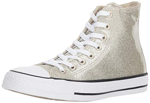 Converse Women's Chuck Taylor All Star Glitter Canvas High Top Sneaker, Light Gold/White, 5.5 M US