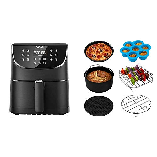 COSORI Smart WiFi Air Fryer 5.8QT(100 Recipes), Digital Touchscreen with 11 Cooking Presets & Air Fryer Accessories XL (C158-6AC), Set of 6 Fit all 5.8Qt, 6Qt Air Fryer, FDA Compliant, BPA Free