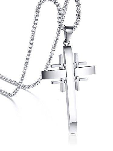 PJ Jewelry Mens Stainless Steel Jerusalem Templar Crusaders Cross Pendant Necklace,Free 24' Chain