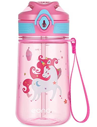 Amazon Brand - Eono Borraccia Bambini con Cannuccia 420ml, Bottiglia Acqua per Bambini Tritan senza BPA a Prova di Perdita, Borraccia Bambini Asilo per Scuola, Viaggi, Sport (Rosa, Unicorno)