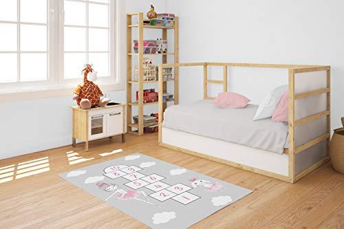 Paria Home Kinder-Teppich Für Kinderzimmer, Spiel-Teppich Mit Hüpfkästchen, Grau, (80 x 150 cm)