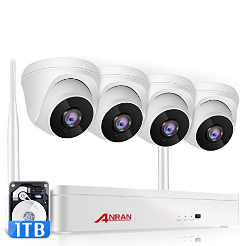 ANRAN Wireless Security Camera System 1080P with Audio,8 Channel Surveillance NVR Kits 4Pcs 2.0MP Night Vision Home WiFi IP Security Cameras,Motion Alert, Remote Access,1TB Hard Drive,8CH Expandable