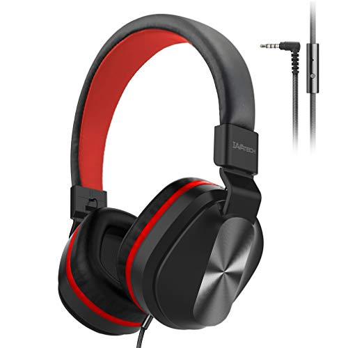 KIWITECH On-Ear Kopfhörer mit Kabel, Integriertem Mikrofon und 1-Tasten-Fernbedienung, 1,5m Textilkabel und 3,5mm Stereo-Stecker, Faltbares Kabelgebundenes Headset für Tablet, Laptop, MP3, 4