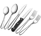 AIKKIL Set di posate con coltelli da bistecca e posate in acciaio inox, cucchiai forcelle,...