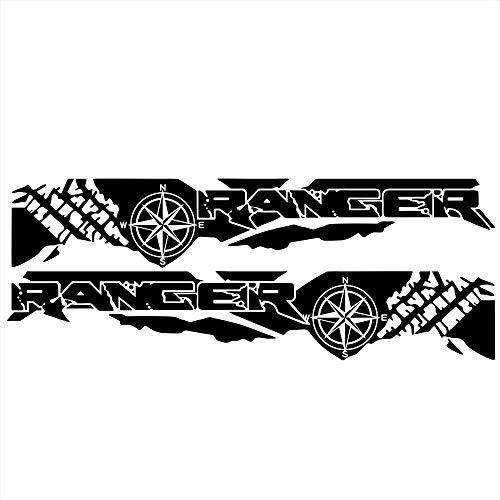 HUANGRONG Puerta de Coche Stripe Stripe Gráfico Etiqueta engomada de Vinilo para Ranger Tronco Neumático Gráfico Decoración de automóviles Accesorios Trasero Rayas Calcomanías Pegatina