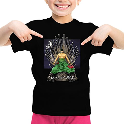 T-Shirt Enfant Fille Noir One Piece - Game of Thrones parodique Roronoa Zoro X Eddard Stark : Game of Swords (Parodie One Piece - Game of Thrones)