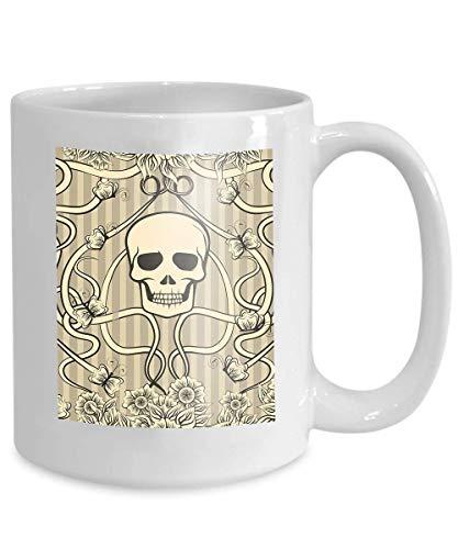 Kaffee Tee Tasse Tasse Blumen Hintergrund Schädel Jugendstil Blumen Hintergrund Schädel Jugendstil...