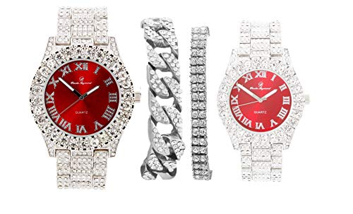Bling'ed Out King and Queen Hip Hop Watch Set Perfect for Power Couples to Flaunt On and Off The Dance Floor - ST10325/ST10364 His&Hers(ST10327 SlvRed)