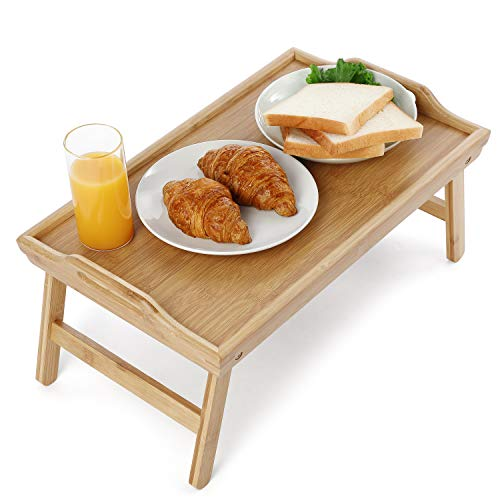 HYNAWIN Bamboo Bed Serving Tray Table Big Size with 19.69in Long Tray with Foldable Legs Breakfast Tray Portable Laptop for Food Serving with Carrying Handles