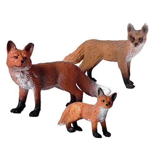 STOBOK 3 figuras de zorro de juguete de animales salvajes, estatua realista, modelo de animales de bosque para niños, juego de regalo de cumpleaños