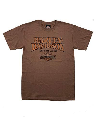 HARLEY-DAVIDSON Original HD T-Shirt für Biker - American Legend Logo Shirt Vintage Harley T-Shirt für Biker - Rockabillys und Harley Fahrer - braun, Größe:S