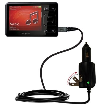 Unique Gomadic Car and Wall AC/DC Charger Designed for The Creative Zen (All GB Versions) – Two Critical Functions, One Great Charger (Includes Gomadic TipExchange)