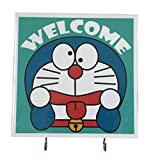 Agility Wall Mounting Home Decor Bedroom Kitchen Hanger Hat Bag Necklace Key Hand Towel Belt Wood 7.87' x 7.87' 2 Hooks Blue Doraemon Welcome's Photo Base