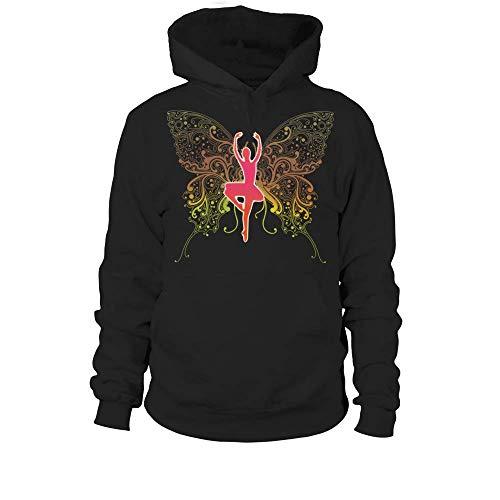 Sudadera con Capucha Unisex Camiseta Butterfly Mujer - Negro - XL