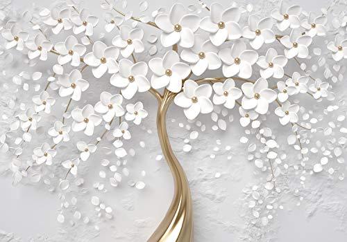 wandmotiv24 Fototapete Baum Weiß 1 XL 350 x 245 cm - 7 Teile Fototapeten, Wandbild, Motivtapeten, Vlies-Tapeten Gold, Wand, Blumen M1805