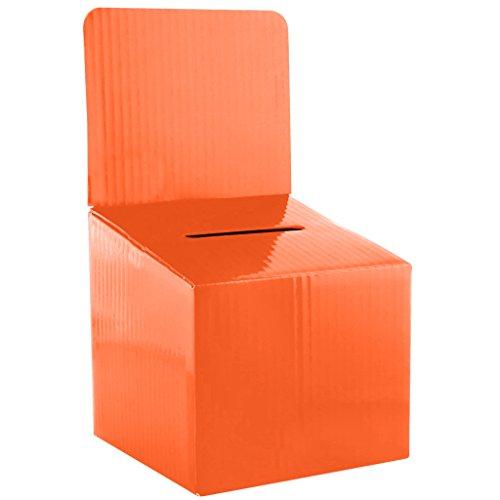 My Charity Boxes–Confezione da 5–Scatola in cartoncino– urna elettorale – scatola dei suggerimenti –scatola per lotteria – contenitore per biglietti –con intestazione rimovibile, da tavolo