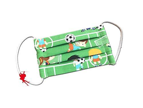 Mund-Nasen-Maske Fußball grün für Kinder Alltagsmaske Baumwolle