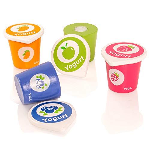 VIGA - Pack de 4 tarrinas de Yogur con Tapa - Madera