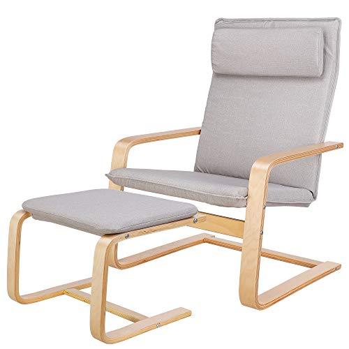 Homfa Relaxsessel mit Fußstütze Sessel Schaukelstuhl Schwingsessel Relaxstuhl Belastbarkeit 150 KG Grau für Wohnzimmer Stuhl Kinderzimmersessel Birkenholz 66.5x69x96.5cm