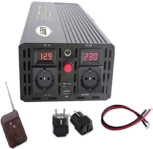 LIDER.- 1500W,Pico3000W Inversor de Corriente Onda sinusoidal modificada, Transformador de DC 24V a AC 220V, con Puerto USB, Pantalla LCD y Control Remoto inalámbrico