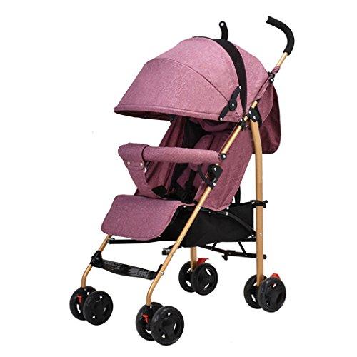 2 en 1 poussette pliante poussette de voyage bébé poussette jogger de voyage poussette pour enfant - couleurs différentes (Color : Red)